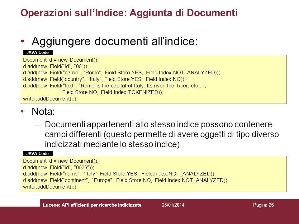 Operazioni sull'Indice: Aggiunta di Documenti