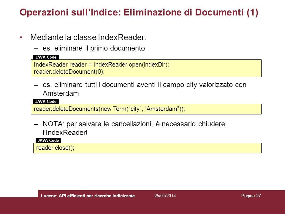 Operazioni sull'Indice: Eliminazione di Documenti (1)