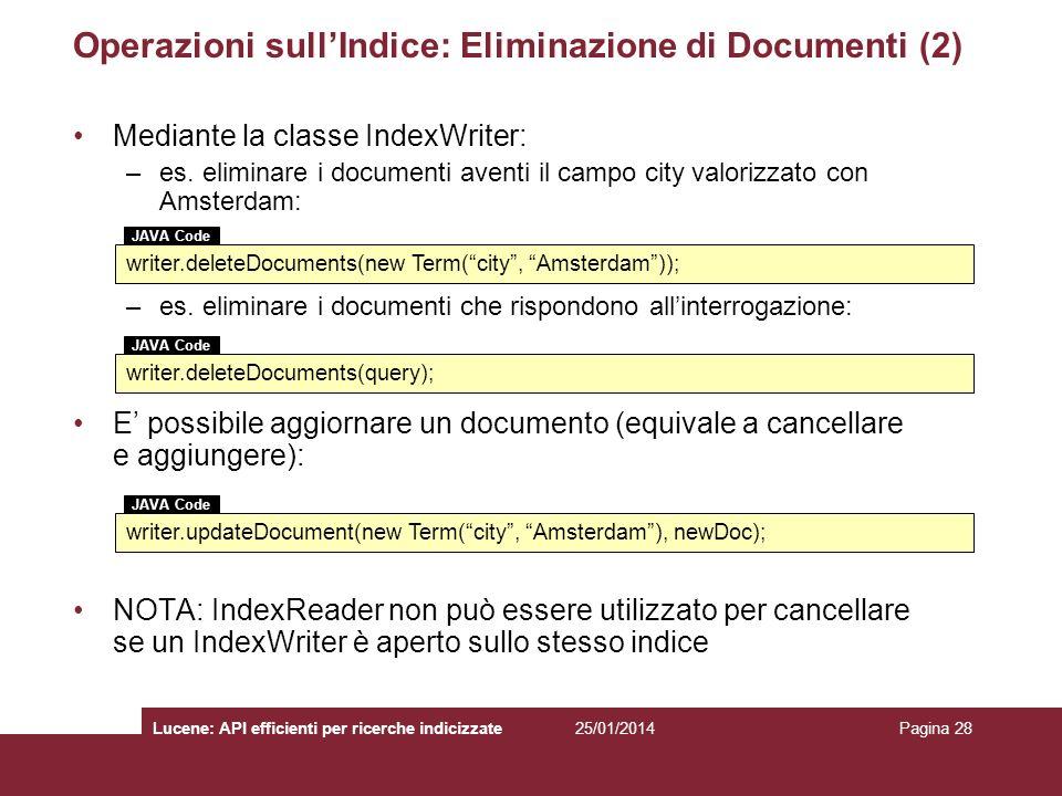 Operazioni sull'Indice: Eliminazione di Documenti (2)