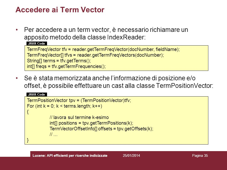 Accedere ai Term Vector