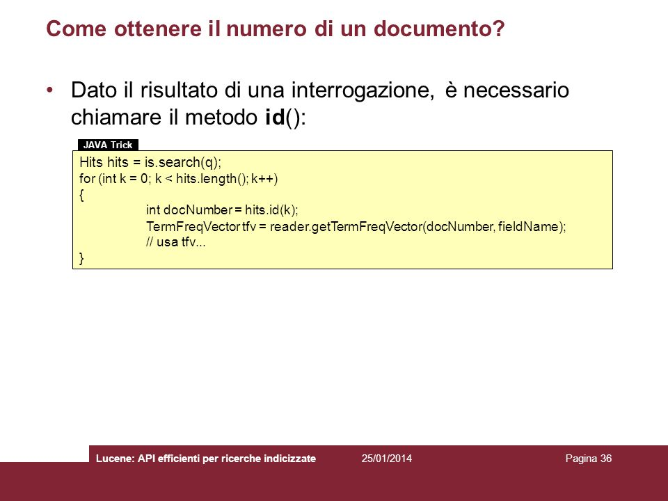 Come ottenere il numero di un documento