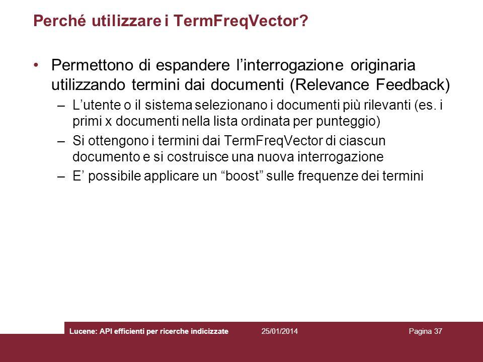 Perché utilizzare i TermFreqVector