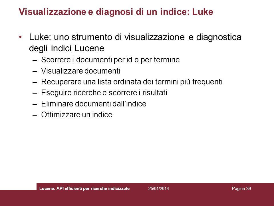 Visualizzazione e diagnosi di un indice: Luke