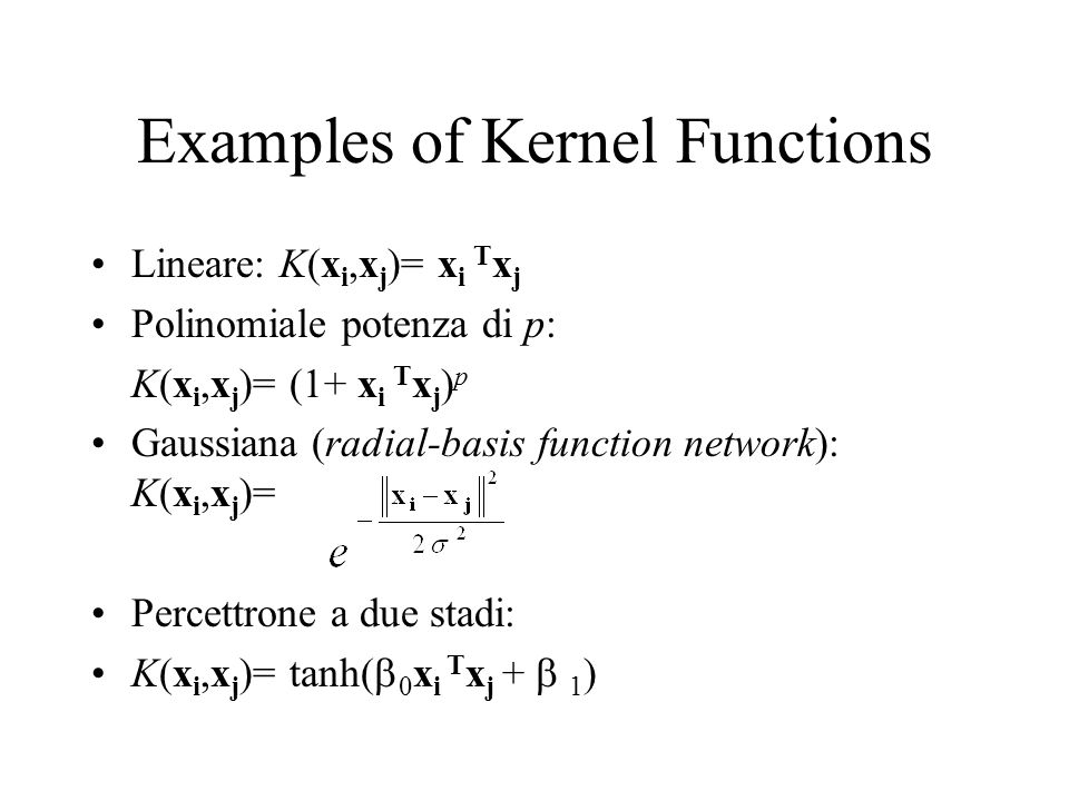 Examples of Kernel Functions