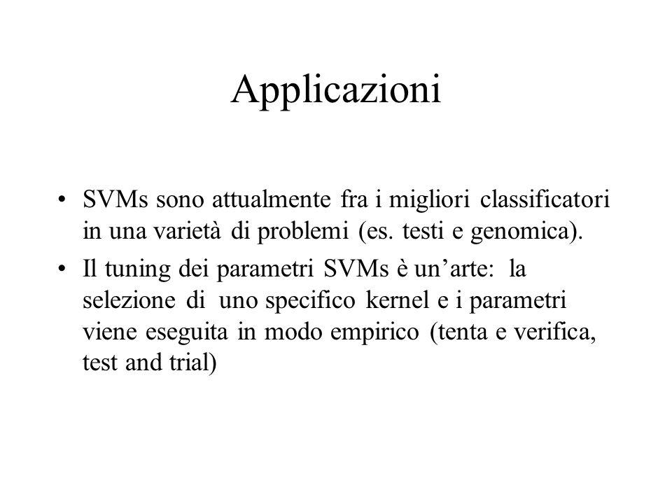 Applicazioni SVMs sono attualmente fra i migliori classificatori in una varietà di problemi (es. testi e genomica).