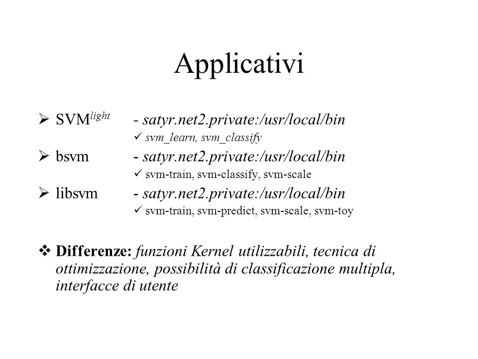 Applicativi SVMlight - satyr.net2.private:/usr/local/bin