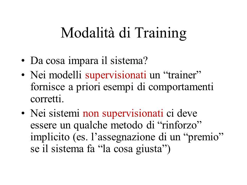 Modalità di Training Da cosa impara il sistema