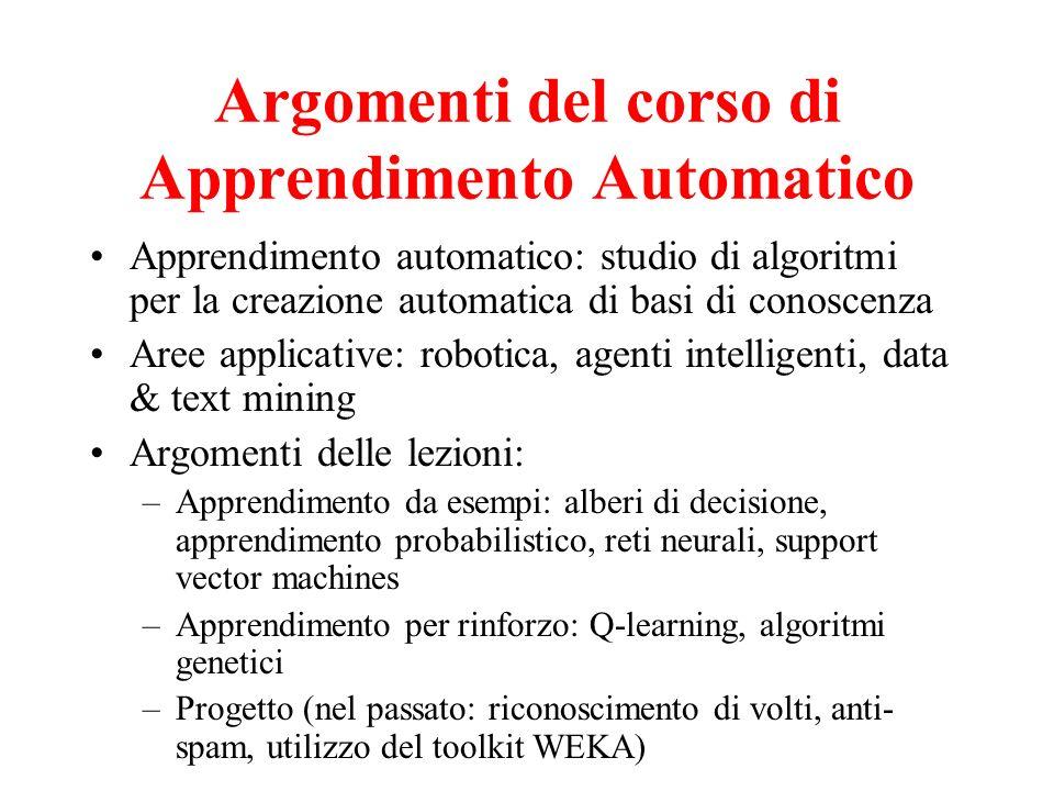 Argomenti del corso di Apprendimento Automatico