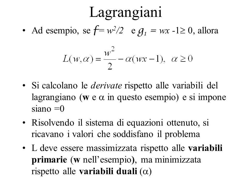 Lagrangiani Ad esempio, se f = w2/2 e g1 = wx -1 0, allora