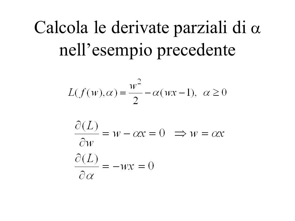 Calcola le derivate parziali di  nell'esempio precedente