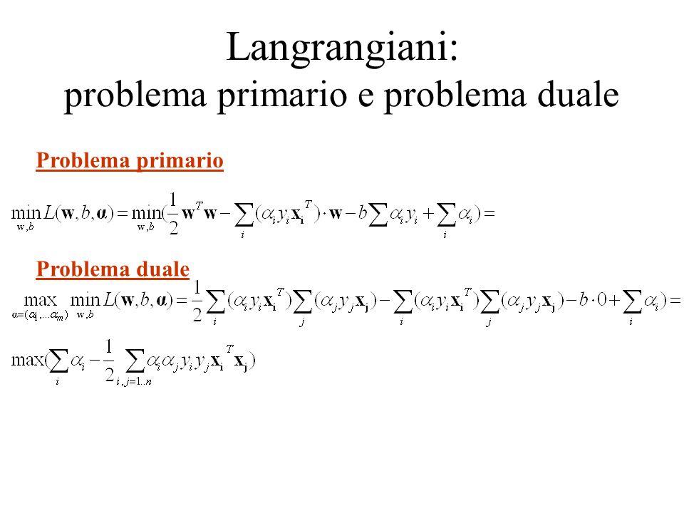 Langrangiani: problema primario e problema duale