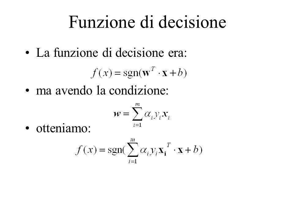 Funzione di decisione La funzione di decisione era: