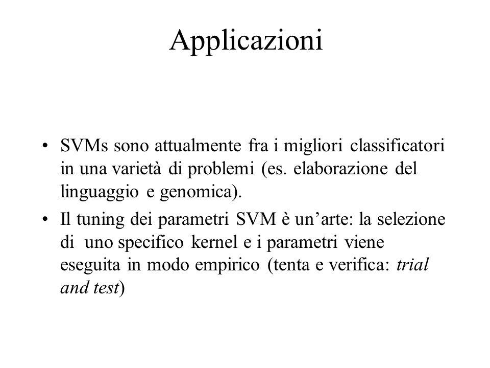 Applicazioni SVMs sono attualmente fra i migliori classificatori in una varietà di problemi (es. elaborazione del linguaggio e genomica).