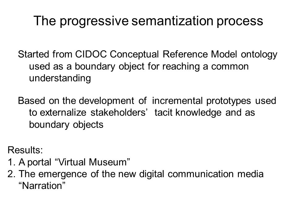 The progressive semantization process