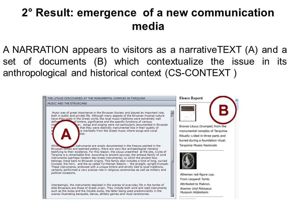 2° Result: emergence of a new communication media