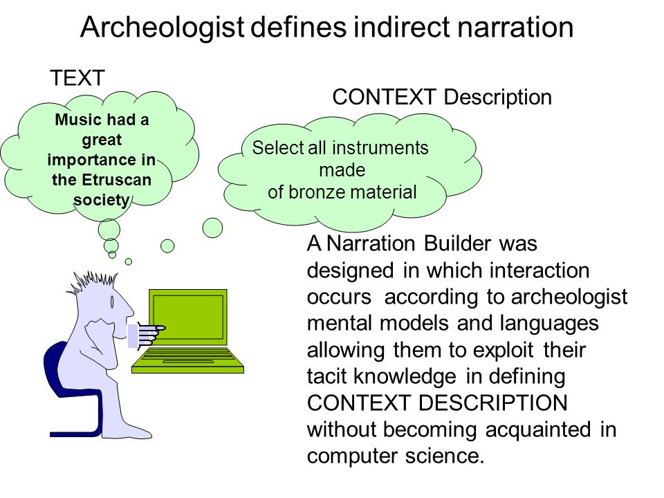 Archeologist defines indirect narration