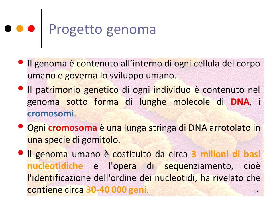 Progetto genoma Il genoma è contenuto all'interno di ogni cellula del corpo umano e governa lo sviluppo umano.