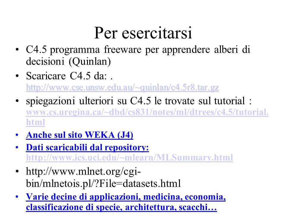 Per esercitarsi C4.5 programma freeware per apprendere alberi di decisioni (Quinlan)