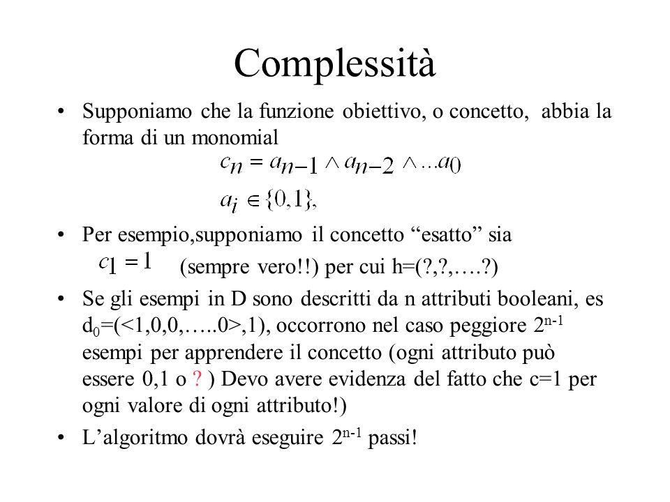 Complessità Supponiamo che la funzione obiettivo, o concetto, abbia la forma di un monomial. Per esempio,supponiamo il concetto esatto sia.
