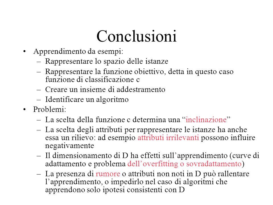 Conclusioni Apprendimento da esempi: