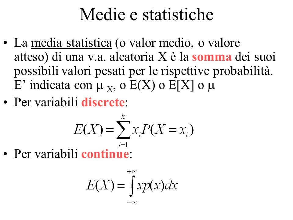 Medie e statistiche