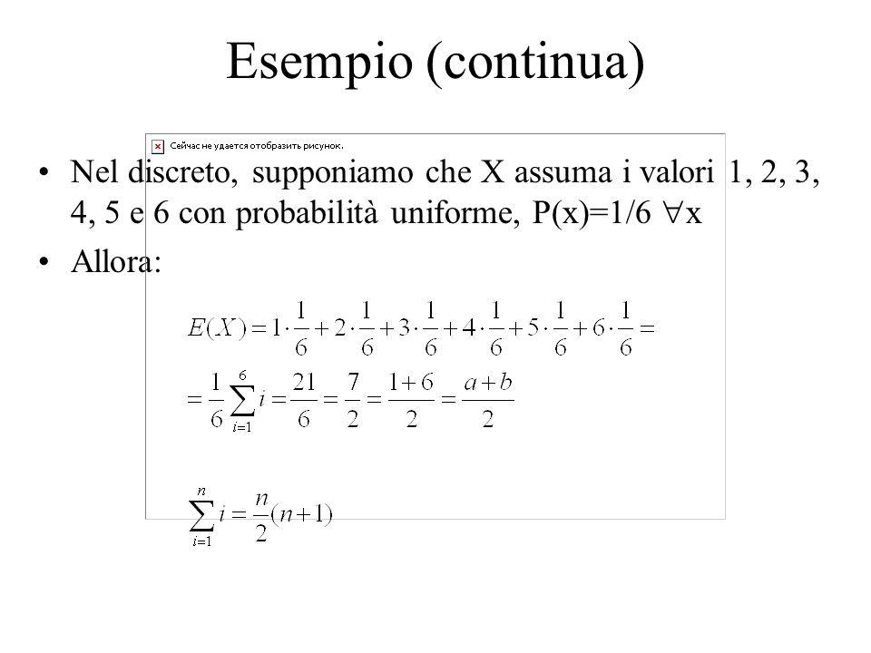 Esempio (continua) Nel discreto, supponiamo che X assuma i valori 1, 2, 3, 4, 5 e 6 con probabilità uniforme, P(x)=1/6 x.