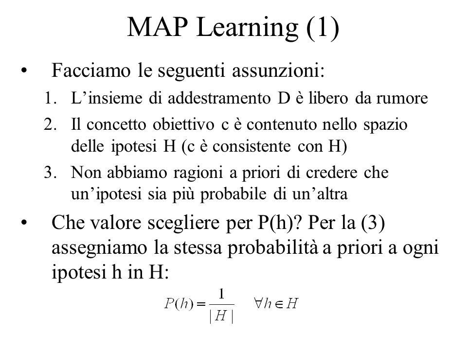MAP Learning (1) Facciamo le seguenti assunzioni: