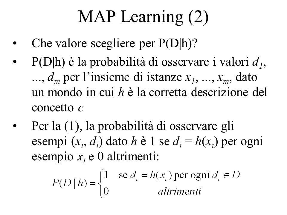 MAP Learning (2) Che valore scegliere per P(D|h)