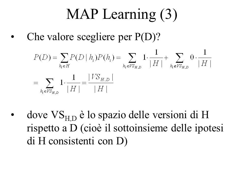 MAP Learning (3) Che valore scegliere per P(D)