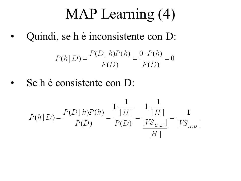 MAP Learning (4) Quindi, se h è inconsistente con D: