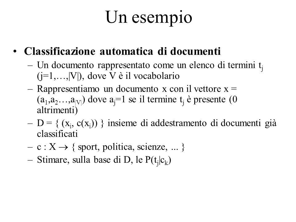 Un esempio Classificazione automatica di documenti