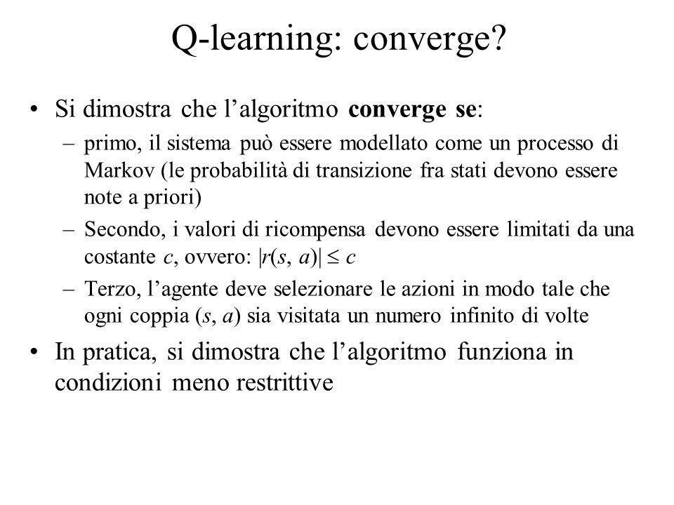 Q-learning: converge Si dimostra che l'algoritmo converge se:
