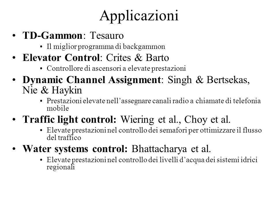 Applicazioni TD-Gammon: Tesauro Elevator Control: Crites & Barto