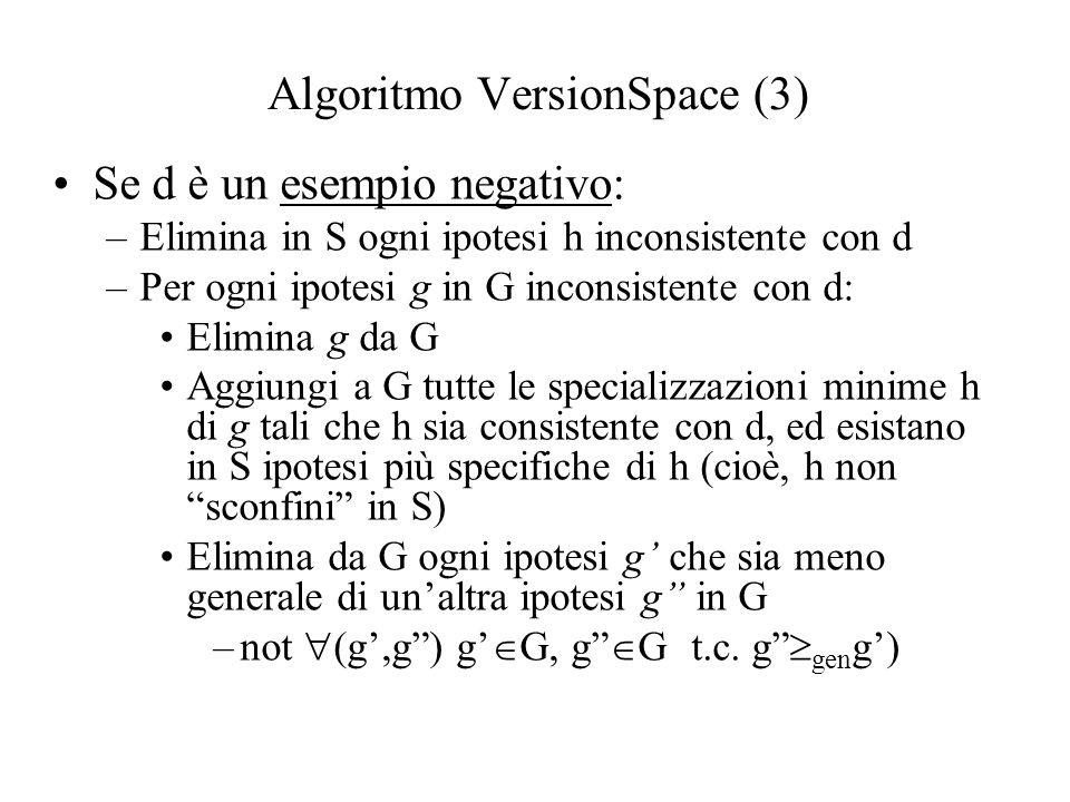 Algoritmo VersionSpace (3)