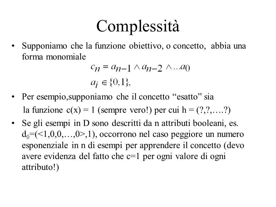 Complessità Supponiamo che la funzione obiettivo, o concetto, abbia una forma monomiale. Per esempio,supponiamo che il concetto esatto sia.