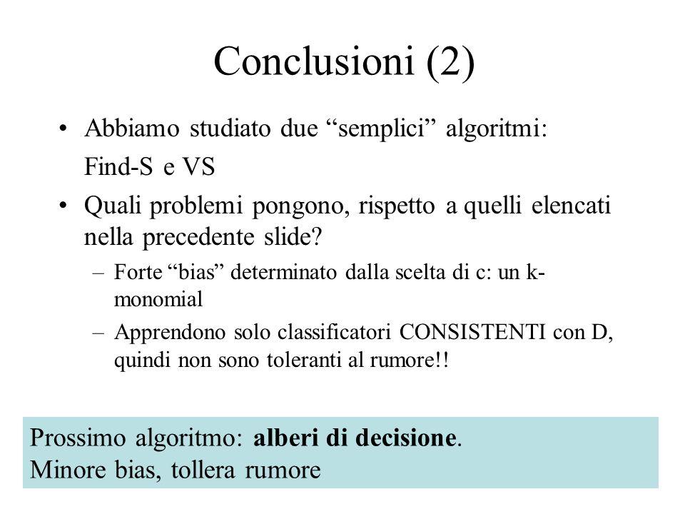 Conclusioni (2) Abbiamo studiato due semplici algoritmi: Find-S e VS