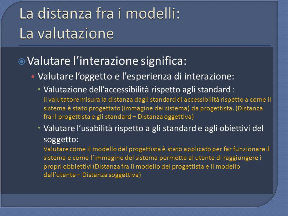 La distanza fra i modelli: La valutazione