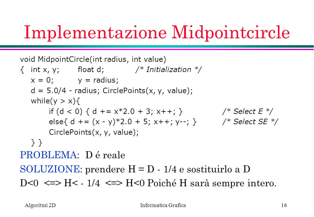 Implementazione Midpointcircle
