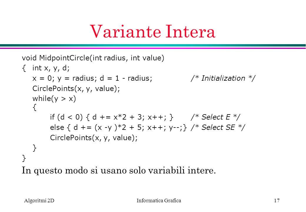 Variante Intera In questo modo si usano solo variabili intere.