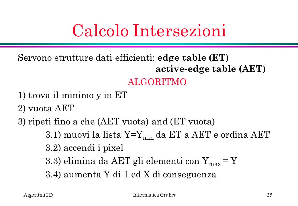 Calcolo Intersezioni Servono strutture dati efficienti: edge table (ET) active-edge table (AET)