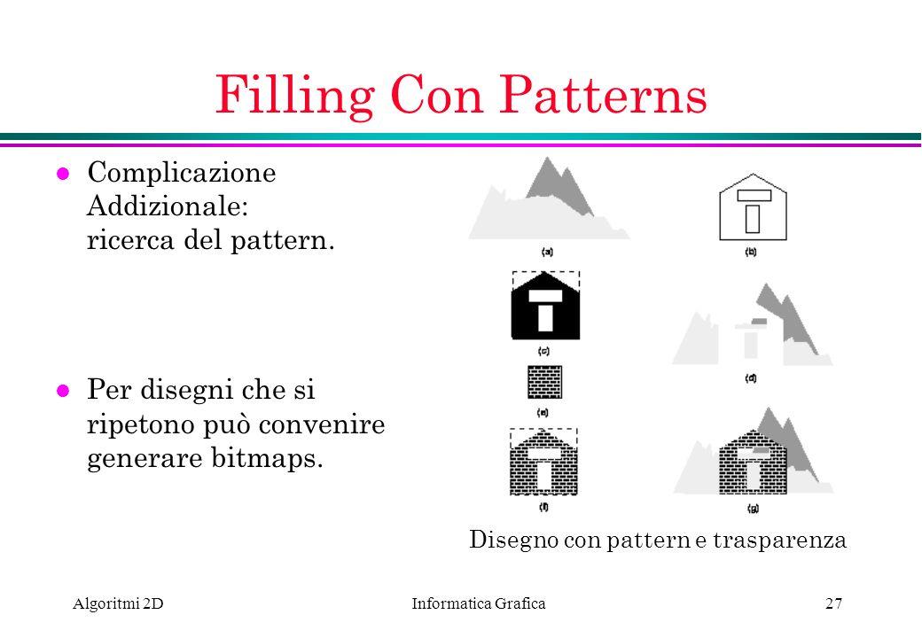 Filling Con Patterns Complicazione Addizionale: ricerca del pattern.