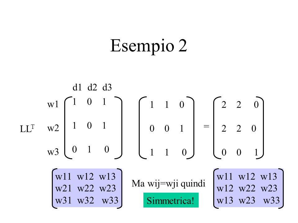 Esempio 2w1. w2. w3. d1 d2 d3. 0 1. 1 0 1. 0 1 0. LLT. 1 0. 0 0 1. 1 1 0.