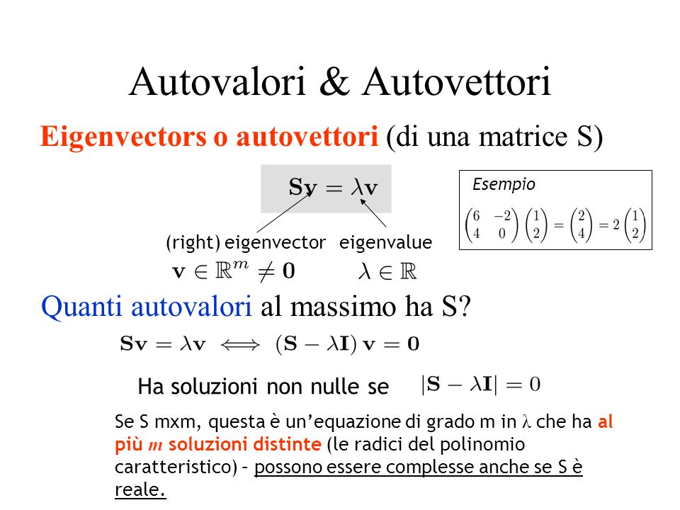 Autovalori & Autovettori