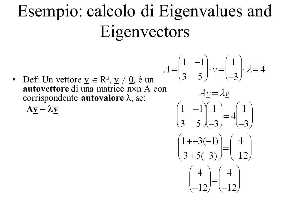 Esempio: calcolo di Eigenvalues and Eigenvectors