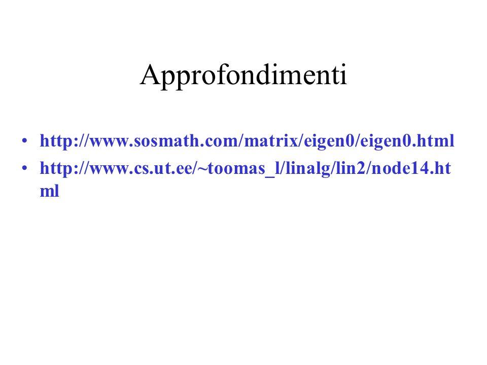 Approfondimenti http://www.sosmath.com/matrix/eigen0/eigen0.html