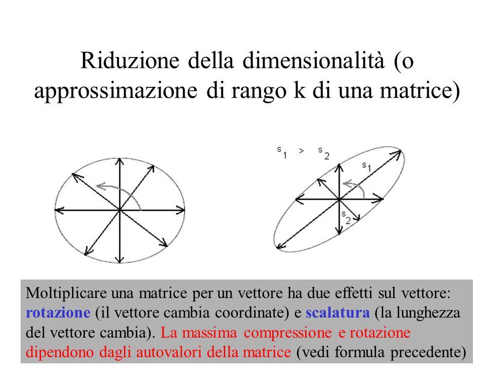 Riduzione della dimensionalità (o approssimazione di rango k di una matrice)