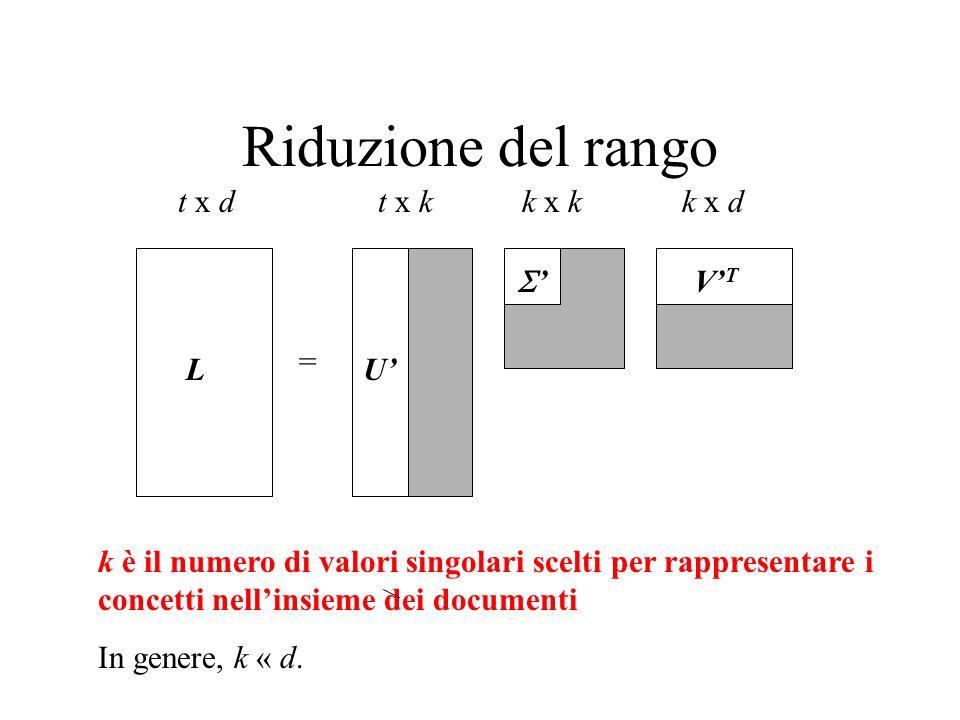 Riduzione del rango t x d t x k k x k k x d ' V'T = L U'