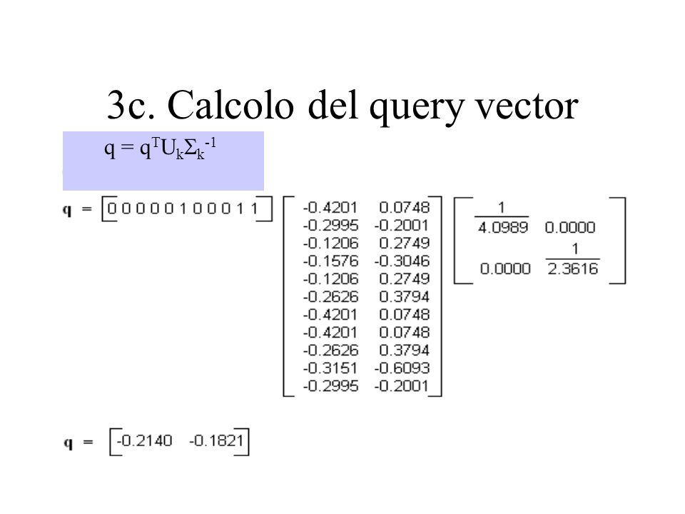 3c. Calcolo del query vector