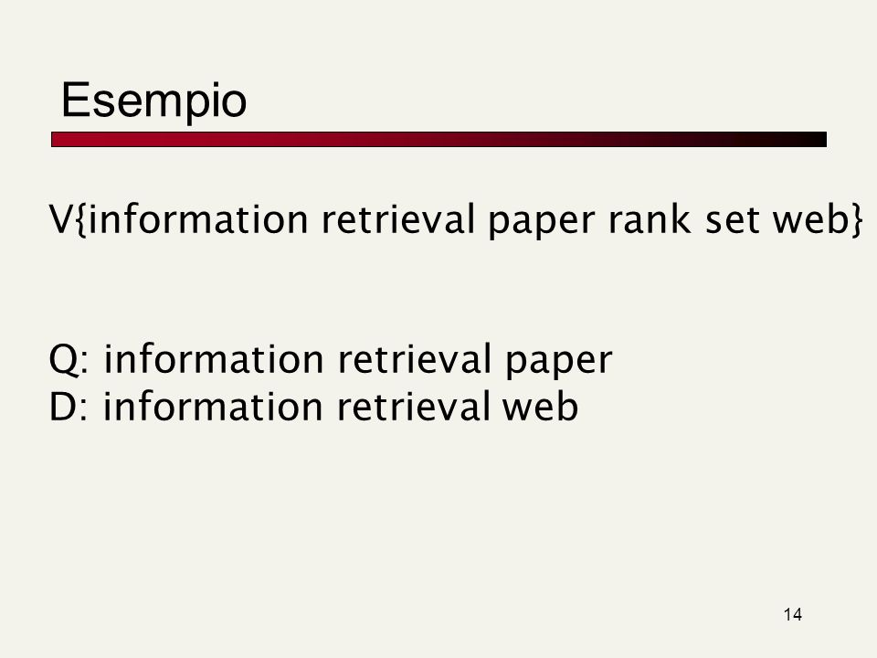 Esempio V{information retrieval paper rank set web}