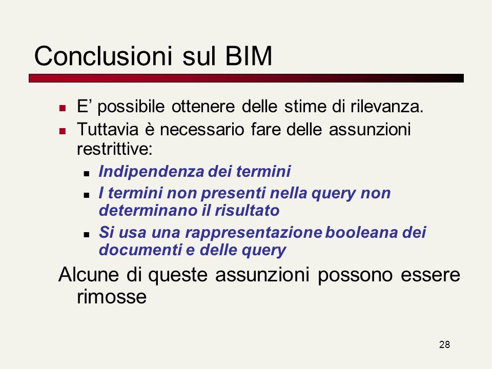 Conclusioni sul BIM Alcune di queste assunzioni possono essere rimosse
